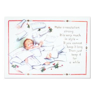 Querubim do anjo do azevinho do ano novo do bebê convite 12.7 x 17.78cm