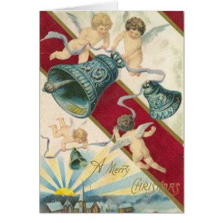 querubins e cartão de Natal dos sinos