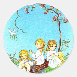 Querubins e cordeiro das etiquetas do primavera
