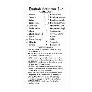 Quik-Referência bolso carteira da gramática ingles Modelo Cartões De Visita
