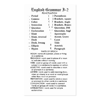 Quik-Referência bolso/carteira da gramática ingles Modelo Cartões De Visita
