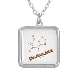 Química da molécula do Theobromine do espírito de Colar Banhado A Prata