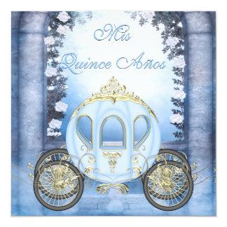 Quinceanera da princesa Carruagem Enchanted azul Convite Quadrado 13.35 X 13.35cm