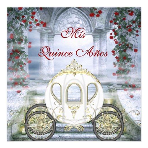 Quinceanera da princesa Carruagem Enchanted branca Convite Personalizados