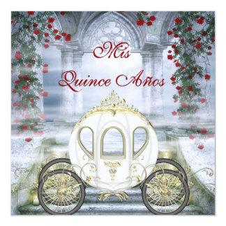 Quinceanera da princesa Carruagem Enchanted branca Convite Quadrado 13.35 X 13.35cm