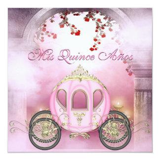 Quinceanera da princesa Carruagem Enchanted Convite Quadrado 13.35 X 13.35cm