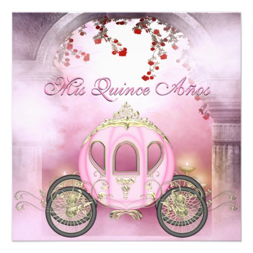 Quinceanera da princesa Carruagem Enchanted cor-de Convites Personalizados