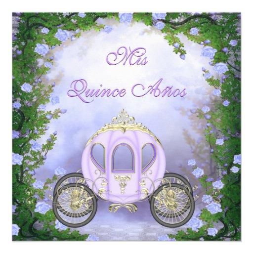 Quinceanera da princesa Carruagem Enchanted roxa Convite