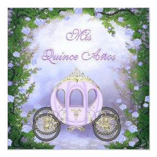 Quinceanera da princesa Carruagem Enchanted roxa Convite Quadrado 13.35 X 13.35cm
