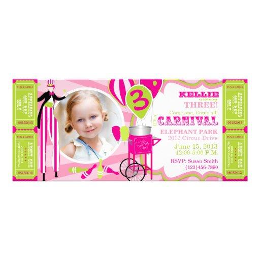 Quivi do rosa do aniversário do tema do circo do c convites personalizados