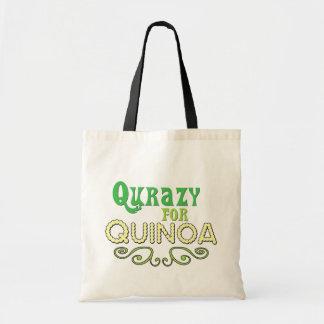 Qurazy para o © do Quinoa - slogan engraçado do Qu Bolsa Tote
