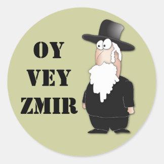 Rabino judaico engraçado de Oy Vey - desenhos Adesivo Em Formato Redondo