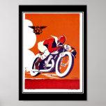 Raça da motocicleta do poster das viagens vintage
