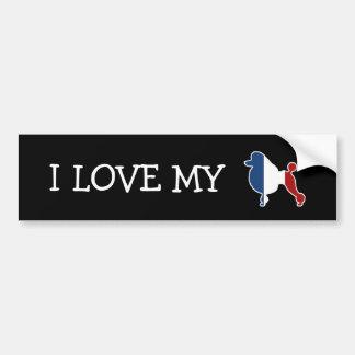 Raça do cão de caniche padrão na bandeira francesa adesivo para carro