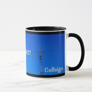 Rádio amador QRZ e caneca do Callsign