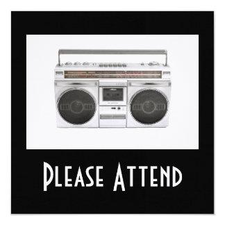 Rádio de Boombox da velha escola Convite Quadrado 13.35 X 13.35cm