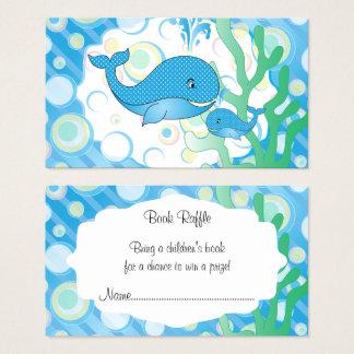 Raffle azul do livro do chá de fraldas da baleia cartão de visitas