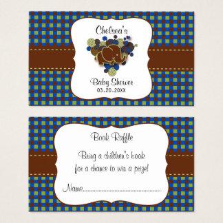 Raffle azul escuro & de Brown do bebê do elefante Cartão De Visitas