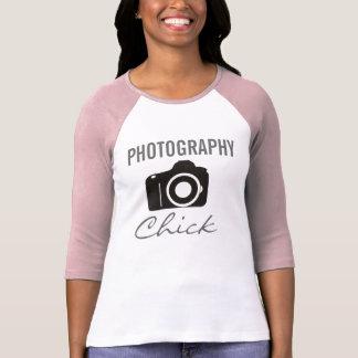 Raglan da luva do pintinho 3/4 da fotografia camiseta
