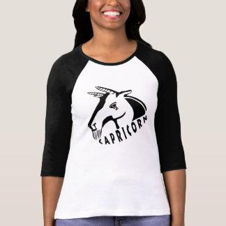 Raglan preto e branco do Capricórnio 3/4 Camisetas