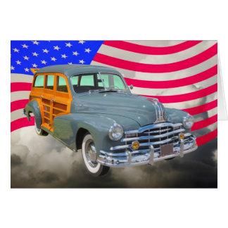 Raia 1948 de prata de Pontiac arborizado e bandeir Cartão Comemorativo