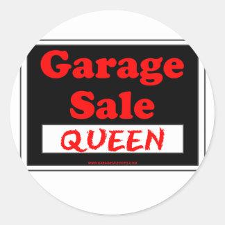 Rainha da venda de garagem adesivo em formato redondo