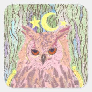 Rainha das etiquetas femininos da coruja da noite adesivo quadrado
