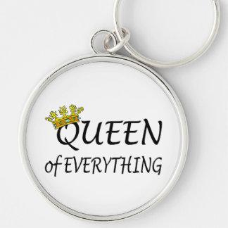 Rainha de tudo coroa chaveiro redondo na cor prata