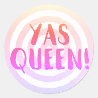 Rainha de Yas!  Etiquetas cor-de-rosa do círculo