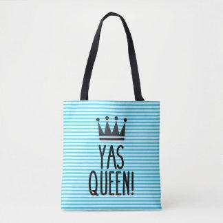 Rainha de Yas! O bolsa azul e branco do teste