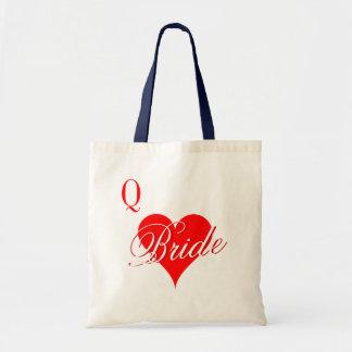 Rainha dos corações que wedding a sacola para a sacola tote budget