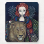 """""""Rainha Elizabeth e um leão"""" Mousepad"""