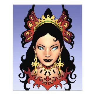 Rainha gótico exótica com os brincos de Ankh pelo