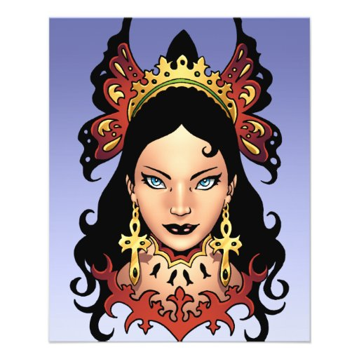 Rainha gótico exótica com os brincos de Ankh pelo  Panfletos Personalizados
