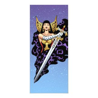 Rainha gótico mágica com a espada enorme pelo Al Convite 10.16 X 23.49cm