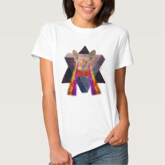 Raio laser louco do gato t-shirts