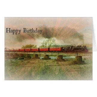 Raios do cartão de aniversário da cara no cavalete