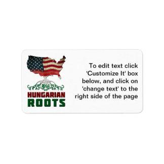 Raizes húngaras americanas etiqueta de endereço