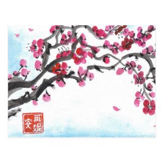 Ramo da flor da ameixa no cartão do inverno