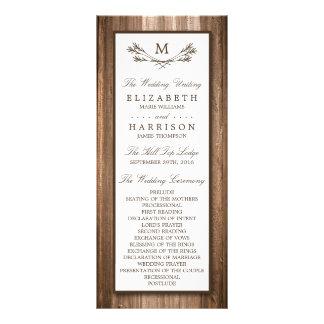 Ramo do monograma do país & casamento rústicos da 10.16 x 22.86cm panfleto