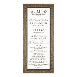 Ramo do monograma do país & casamento rústicos de 10.16 x 22.86cm panfleto