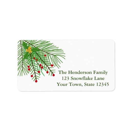 Ramo do pinho e etiqueta de endereço do feriado