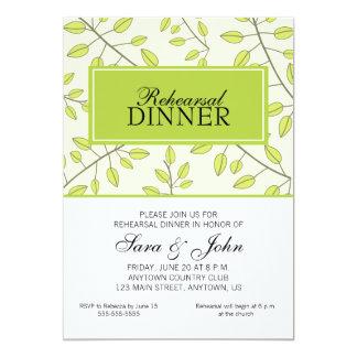 Ramos das folhas verdes, jantar de ensaio convites personalizados