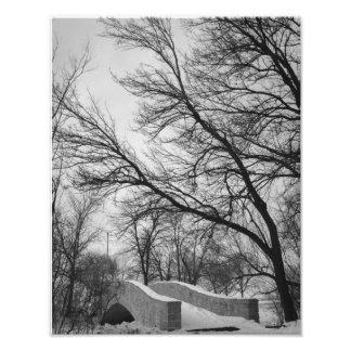 Ramos invernal sobre a ponte de pedra impressão de foto
