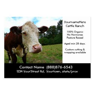 Rancho da carne do gado ou cartão de visita orgâni