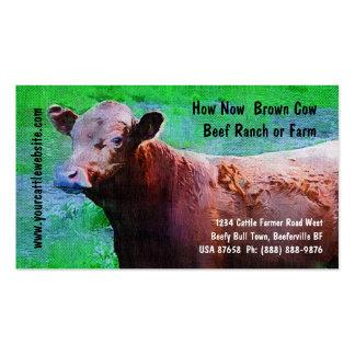 Rancho ou fazenda da carne do gado cartão de visita