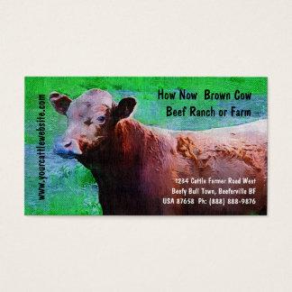 Rancho ou fazenda da carne do gado cartão de visitas