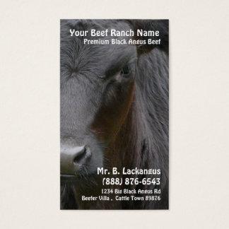 Rancho preto principal da carne de Angus da vaca Cartão De Visitas