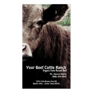 Rancho principal da carne da vaca cartoes de visitas