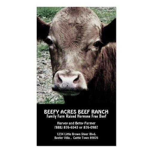 Rancho principal da carne da vaca modelo cartao de visita
